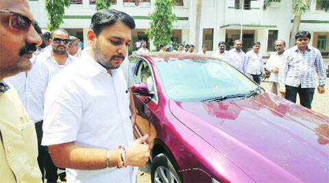 Vishwajeet Kadam at the Congress headquarters in Shivajinagar on Sunday. ( Source: Express photo by Pavan Khengre )