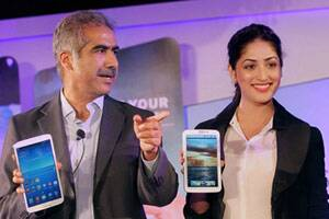 File: Former Samsung Mobile Country Head Vineet Taneja with actress Yami Gautam during the launch of Galaxy Tablet 3 in New Delhi. (PTI)