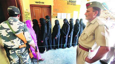 Voters outside a booth in Bhadarsa area of Faizabad Wednesday. Vishal Srivastav