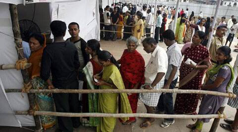 Voters outside a polling station.