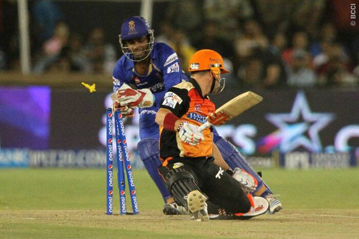 David Warner was brought down the order at number five but he failed and was out stumped off Pravin Tambe's bowling. (Photo: BCCI/IPL)