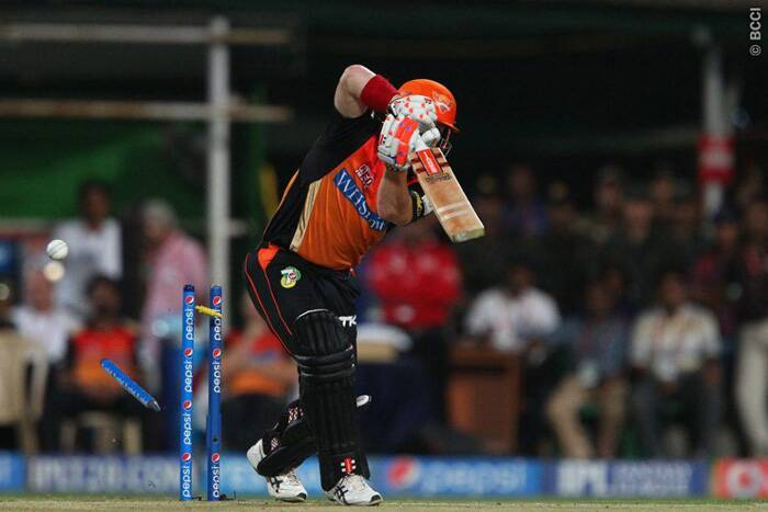 In-form David Warner was removed in the very first over from Morne Morkel for four. This was a big blow for Hyderabad as they needed a big total on the board. (Source: BCCI/IPL)