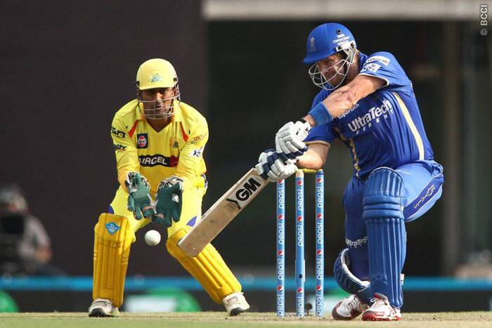 Rajasthan Royals skipper Shane Watson justified his decision to bat first with a formidable half-century. Watson scored 51 runs from 36 deliveries before being dismissed by Chennai Super Kings seamer Mohit Sharma. (Photo: IPL/BCCI)