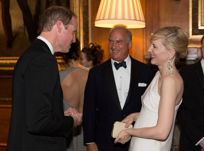The Duke of Cambridge, Prince William hosted a fabulous dinner at Windsor Castle to celebrate work of The Royal Marsden Hospital, of which prince is president. <br /><br /> The glamorous evening saw the likes of actresses Emma Watson, Cate Blanchette, models Kate Moss, Cara Delavigne and actor Benedict Cumberbatch.<br /><br />   Seen here, Prince William has a chat with 'Blue Jasmine' actress Cate Blanchette. ( Source: AP )