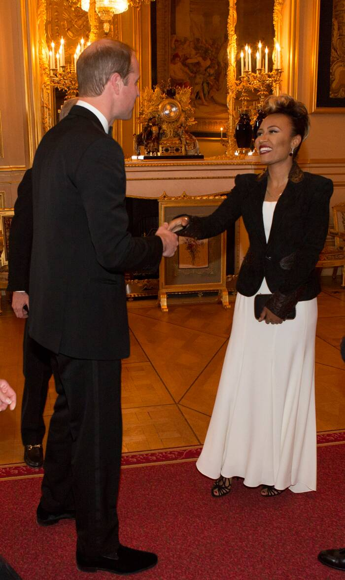 The Duke of Cambridge greets singer Emeli Sandé. ( Source: AP )