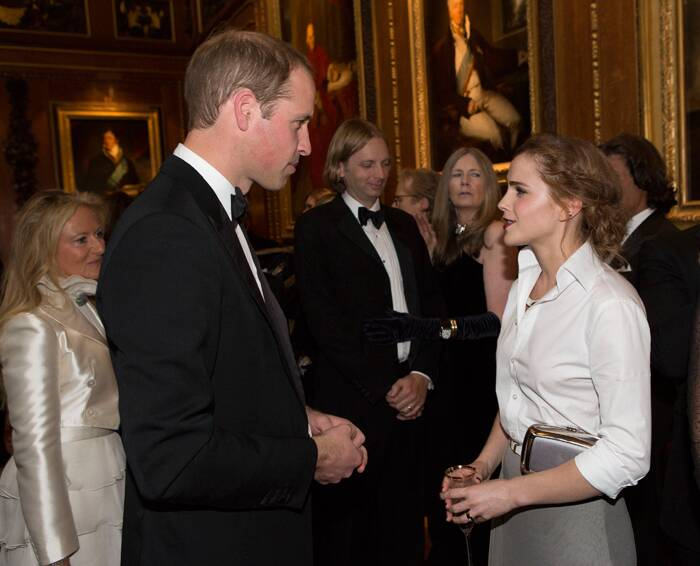 'The Bling Ring' actress, Emma Watson speaks to Prince William at the event. Duchess of Cambridge, Kate Middleton however stayed home with baby Prince George. ( Source: AP )