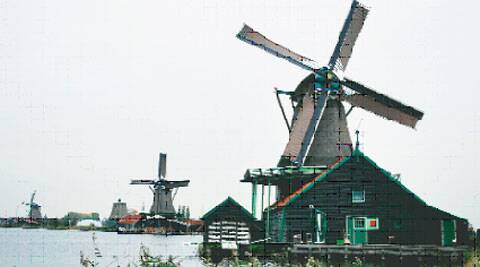A windmill at Zaanse Schans near Amsterdam