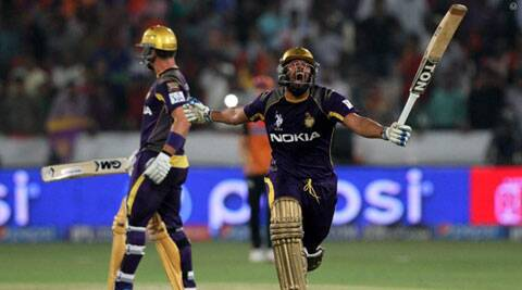 Yusuf Pathan celebrates Kolkata's win by seven wickets over Hyderabad in Hyderabad on Sunday. Pathan made a 28-ball 39 to take his team to fourth consecutive win in this year's IPL. (BCCI/IPL)