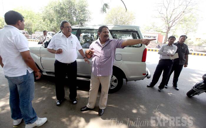 State Minister for Power and Energy, Saurabh Patel takes a look at the preparations for BJP's victory celebrations in Vadodara. (Source: Express Photo by Bhupendra Rana)