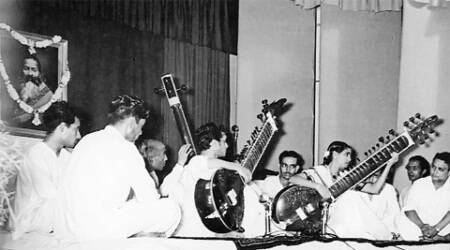 Pt Ravi Shankar and Annapurna Devi in one of their last concerts together. The couple separated soon after. Shankar went on to be a sitar legend, performing at the institute regularly; the founders Vinay Chandra Maudgalya and Padma Devi.