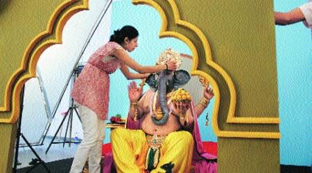 Manjari Sharma prepares for the photo shoot of Ganesha.