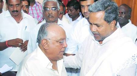 Master Hirannaiah met K Siddaramaiah at his residence in Mysore on Sunday. pics4news.com