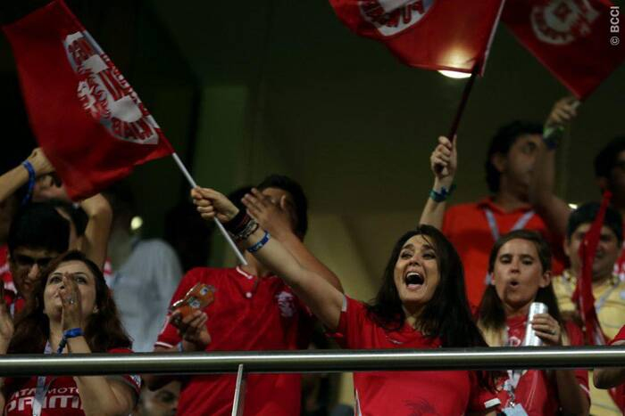 Preity Zinta was overjoyed with the win. 'YEAHhhhh !!!  Ladies & Gentleman the #REDLIONS  ROARED 2day & HOW ! @virendersehwag was simply outstanding ! Am SO Proud of the #KXIP boys.' Zinta tweeted after her team's win. This win gives the fans a 'Veer Zara' moment as Punjab will Kolkata which is co-owned by Shahrukh Khan. (Source: BCCI/IPL)