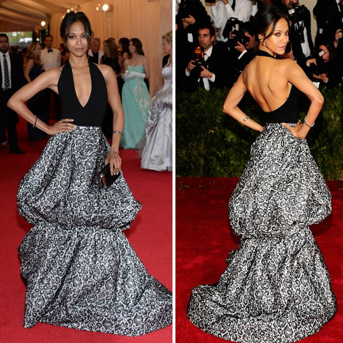 'Avatar' beauty Zoe Saldana wowed in a halter Michael Kors gown with Jack Vartanian jewels.  (AP)