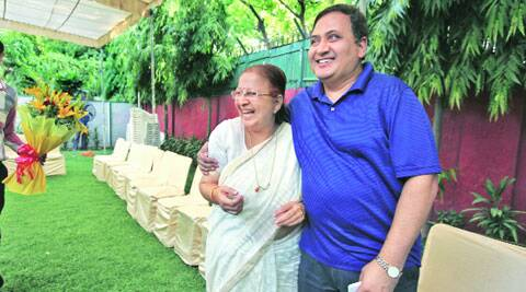 Sumita Mahajan with son Milind, in New Delhi on Thursday.