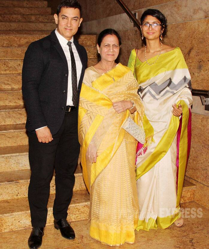Actor Aamir Khan was suave in a suit and tie as he arrived for the launch along with director wife Kiran Rao and mother Zeenat Hussain. (Source: Varinder Chawla)