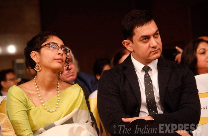 Aamir Khan seated here with wife Kiran who looked lovely in a silk sari, recited a poem by Prasoon Joshi at the launch. (Source: Varinder Chawla)