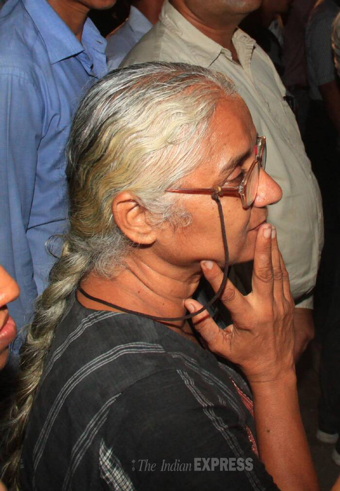 AAP leader and activist Medha Patkar was also seen at Munde's residence. (Source: Express photo by Amit Chakravarty)