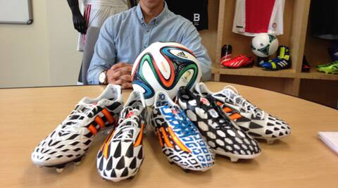 Adidas's range of football boots along with the Brazuca the official ball of the FIFA World Cup. (Source: adidas.com)