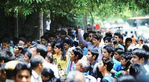 The admission rush at DU on Monday. (Source: Express photo by Tashi Tobgyal)