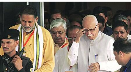 Advani at the BJP workshop at Surajkund Sunday.  (Source: IE photo by Amit Mehra)