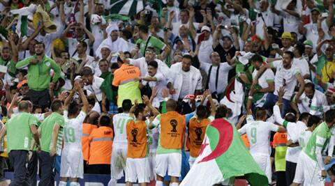 Qualification prompted mass celebrations in the packed Algerian section in Arena da Baixada in Curitiba, and on the pitch among the players. (Source: AP)