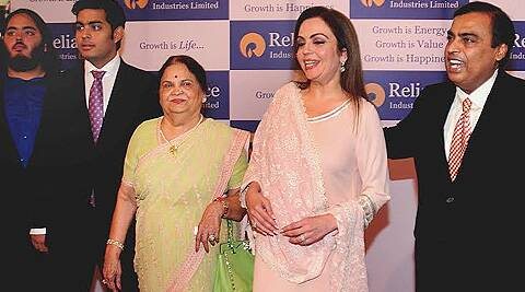 Mukesh Ambani with family members at the RIL's 40th AGM in Mumbai. (IE photo: Pradip Das)