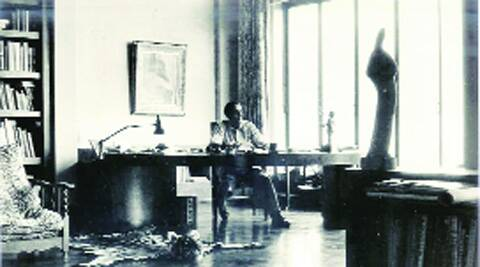 Dr Homi J Bhabha at his desk in 'Mehrangir'. Courtesy DAE