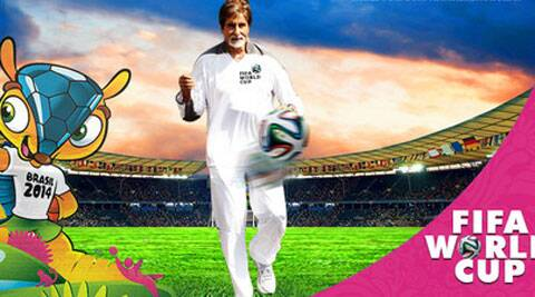 Amitabh Bachchan waited for the Brazil and Croatia match to kick-off.