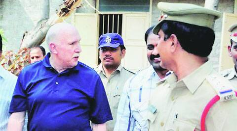 Amway India chairman William S. Pinckney being taken into custody in Kurnool.(Source: PTI)