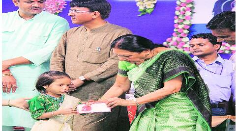 Chief Minister Anandi Patel during Shala Praveshotsav in Bhavnagar on Friday. (Source: Express photos)