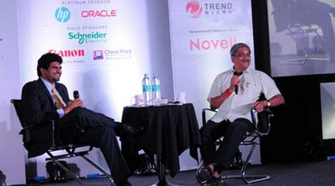Anant Goenka, Wholetime Director & Head of New Media, The Indian Express Ltd in a candid chat with Goa CM Manohar Parrikar at the 16th Express Technology Sabha in Goa.
