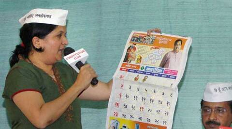 Anjali Dhamani is yet to make an official announcement about her decision to quit AAP. (Express Archive)