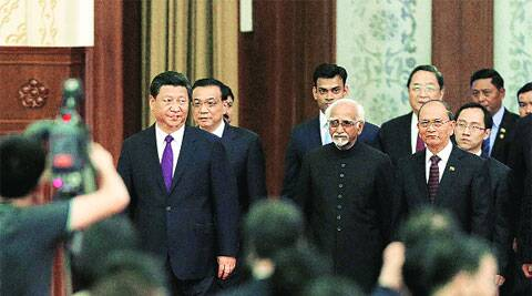 Hamid Ansari at the commemoration ceremony of the 60th anniversary of the Panchsheel Treaty, at the Great Hall of the People in Beijing on Saturday. (Source: PTI)
