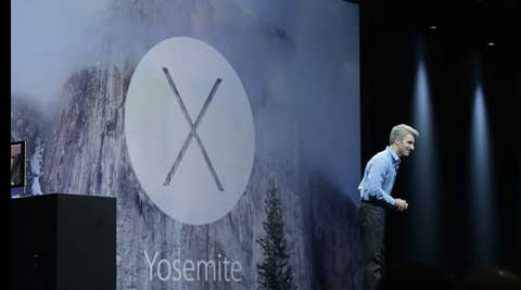 Apple senior vice president of Software Engineering Craig Federighi introduces the Yosemite operating system during the Apple Worldwide Developers Conference in San Francisco. (AP)