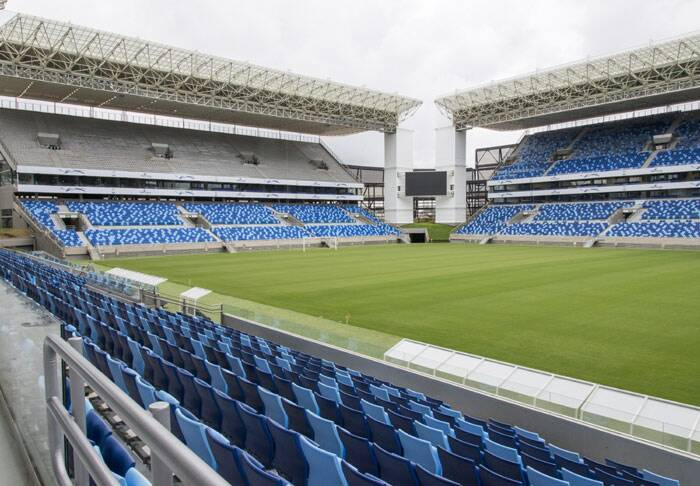 Brazil had seven years to get ready for the World Cup, but it enters the final month of preparations and still many stadiums are not complete. This is a view of Arena Pantanal in the western city of Cuiaba. The stadium will host matches at the end of the month but it is still in its last phase of completion. (Source: AP)