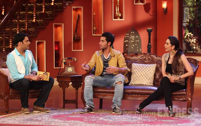 Kapil Sharma plays host to his guests Karisma and Armaan. (Source: Varinder Chawla)