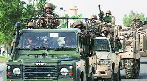 Army troops ride military vehicles following an operation launched against the Taliban in North Waziristan Monday. Source: Ap