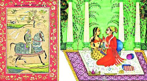 an equestrian portrait of Raja Sujan Singh; Princely Couple on a Terrace.