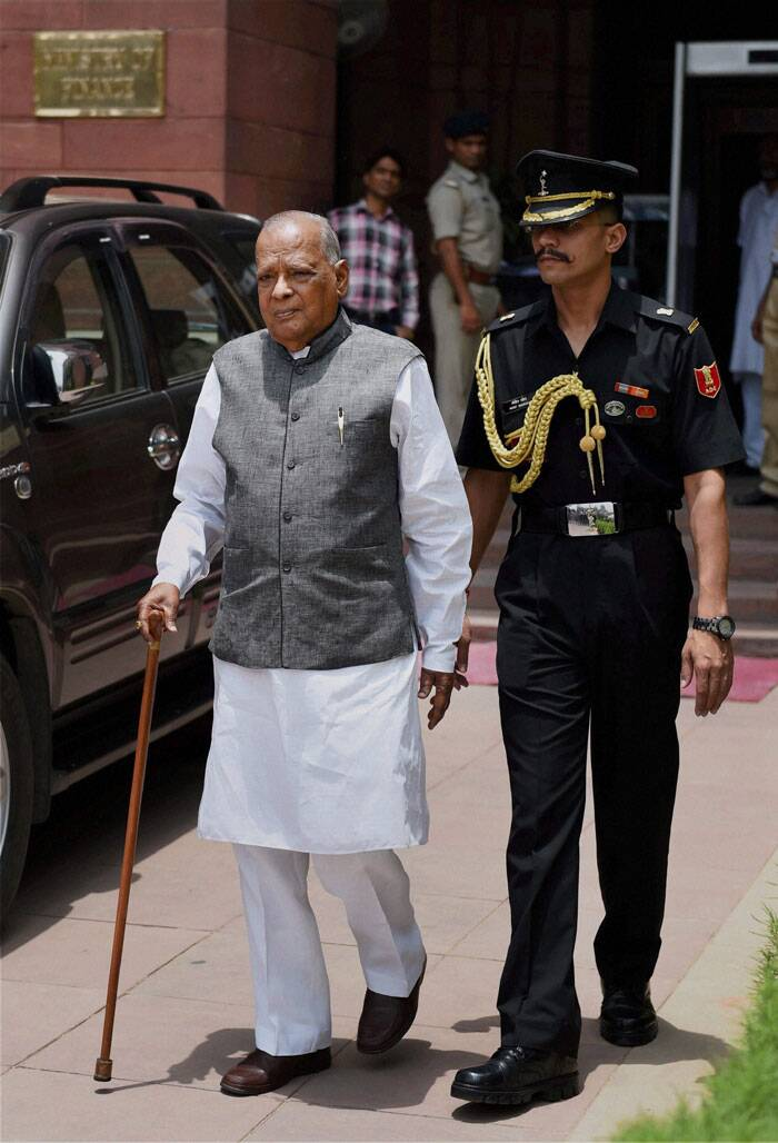Governor of Assam J B Patnaik leaves after meeting with Finance Minister Arun Jaitley in New Delhi on Wednesday. (Source: PTI)