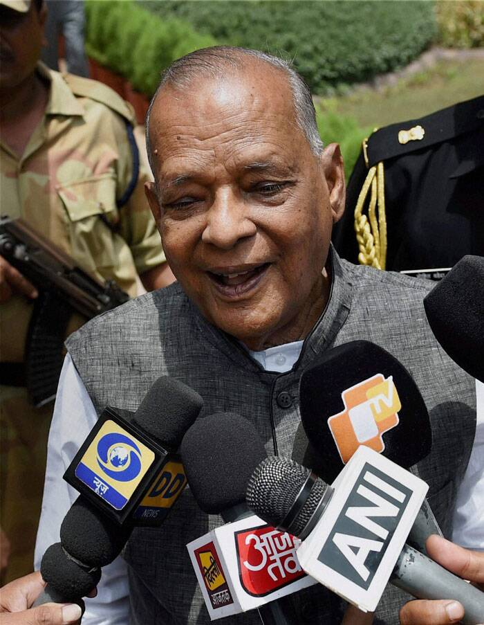 Governor of Assam J B Patnaik is seen addressing the media in New Delhi. (Source: PTI)