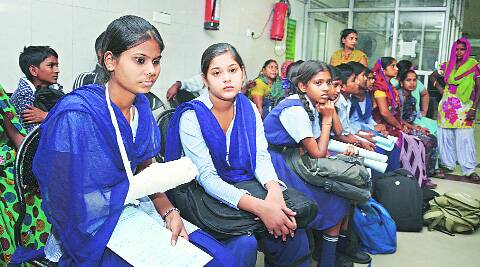The injured schoolchildren at GMCH-16, Chandigarh, on Saturday. (Source: Express photo by Kshitij Mohan)