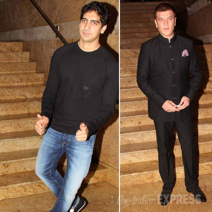 Filmmaker Ayan Mukerji and actor Aditya Pancholi, both went for black. (Source: Varinder Chawla)