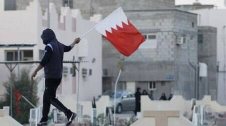 A protestor carries the Bahrain flag. (Source: Reuters)