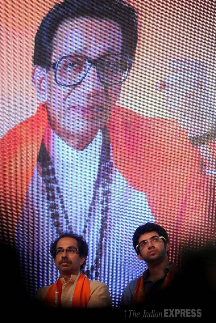 Amid demands from his partymen for him to be declared as chief ministerial candidate, Shiv Sena president Uddhav Thackeray on Thursday said he respects their sentiments but has not given a thought to the issue. <br /> Shiv Sena Executive president Uddhav Thackeray along with son Aditya at the 48th celebration of Party Foundation Day in Bandra on Thursday. (Source: Express photo by Prashant Nadkar)