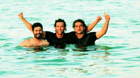 Hrithik Roshan takes a dip  in the ocean with the team