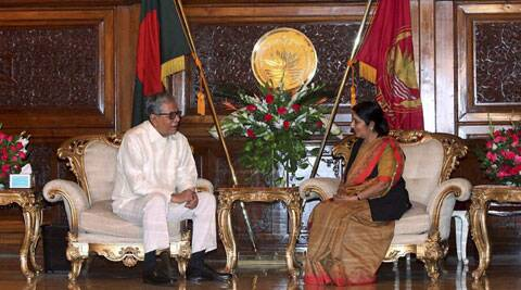 External Affairs Minister Sushma Swaraj with Bangladesh President Abdul Hamid in Dhaka on Thursday. (Source: PTI)
