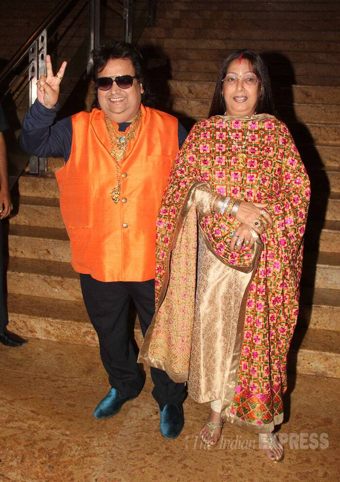 Music director Bappi Lahiri arrived with wife Chitrani. (Source: Varinder Chawla)