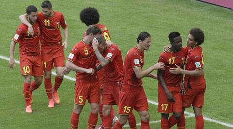 Belgium's Divock Origi (17) scored the 88th minute winner against Russia to see his team through to the Round of 16. (Source: AP)