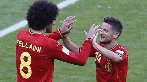Marouane Fellaini (L) and Dries Mertens (R) scored one goal each to turn the game around for Belgium, who trialed by one goal till the 70th minute. (Source: Reuters)